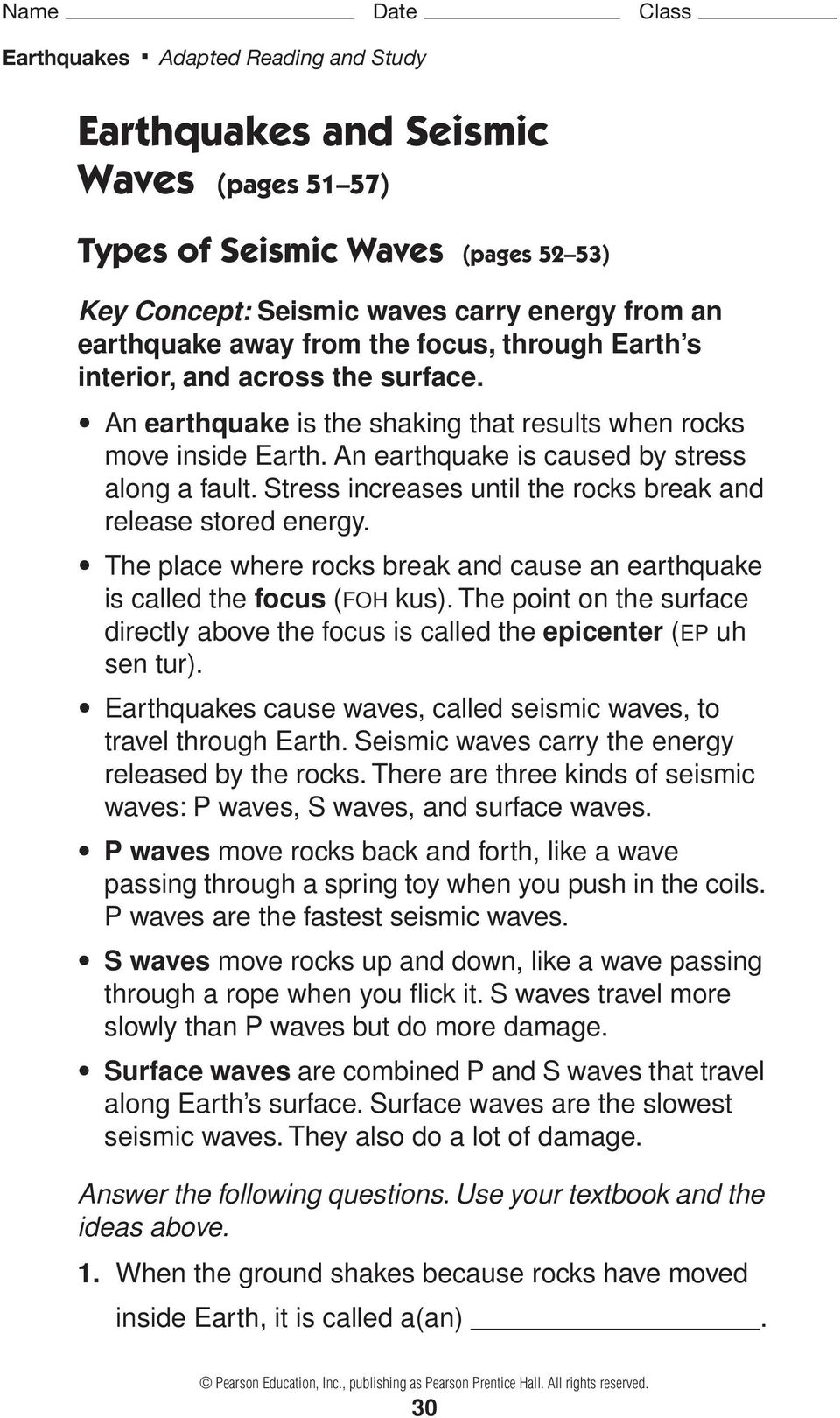Worksheets Earthquakes And Seismic Waves Worksheet earthquakes and seismic waves pages 51 57 pdf the place where rocks break cause an earthquake is called focus foh kus