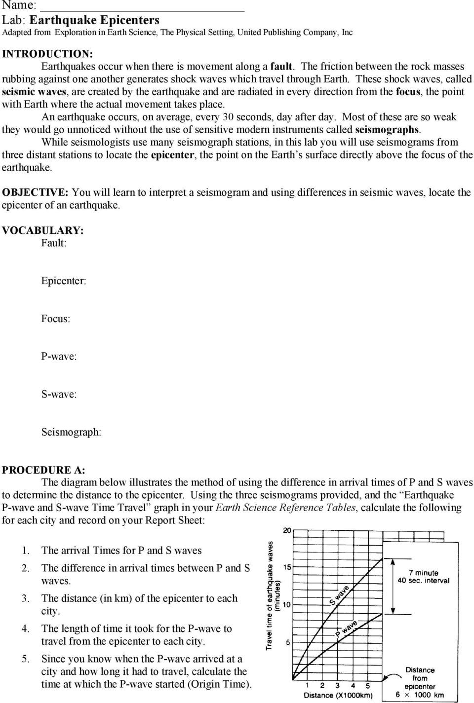 Name Lab Earthquake Epicenters Adapted From Exploration In Earth Science The Physical Setting United Publishing Company Inc Pdf Free Download
