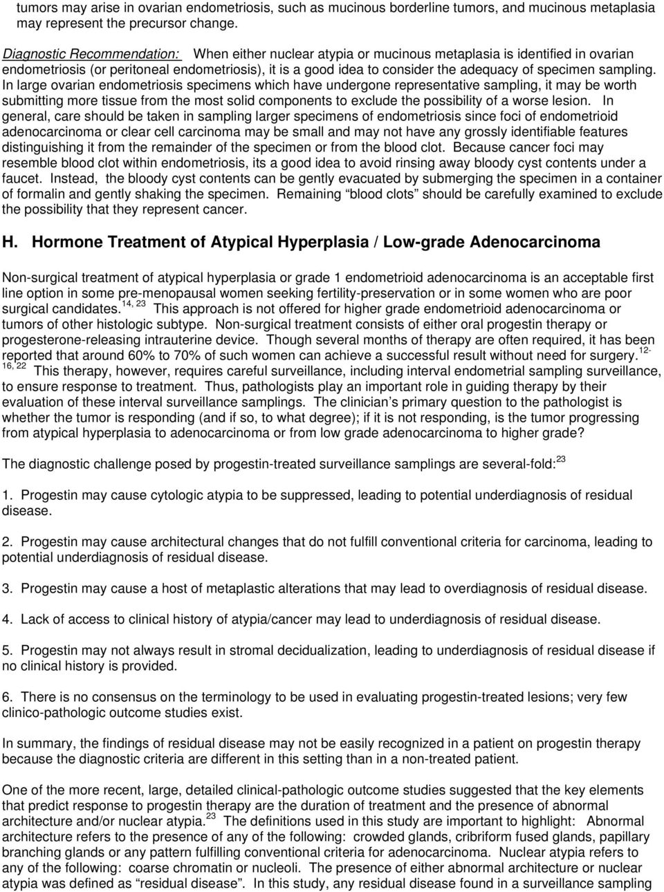 Diagnosis of hyperplasia of the glandular epithelium and treatment methods
