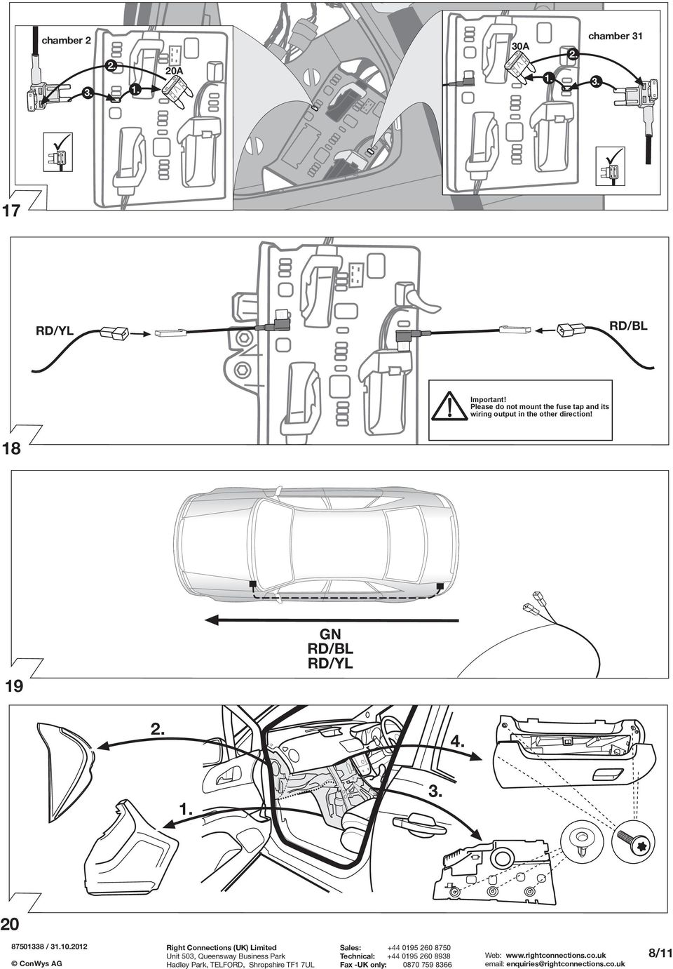Fitting Instructions Part No Rc Vauxhall Meriva B 06 10 Important Wiring Diagram For 2004 Audi A4 Quattro Together With Towbar Lease Do Not Mount The Fuse Tap And Its