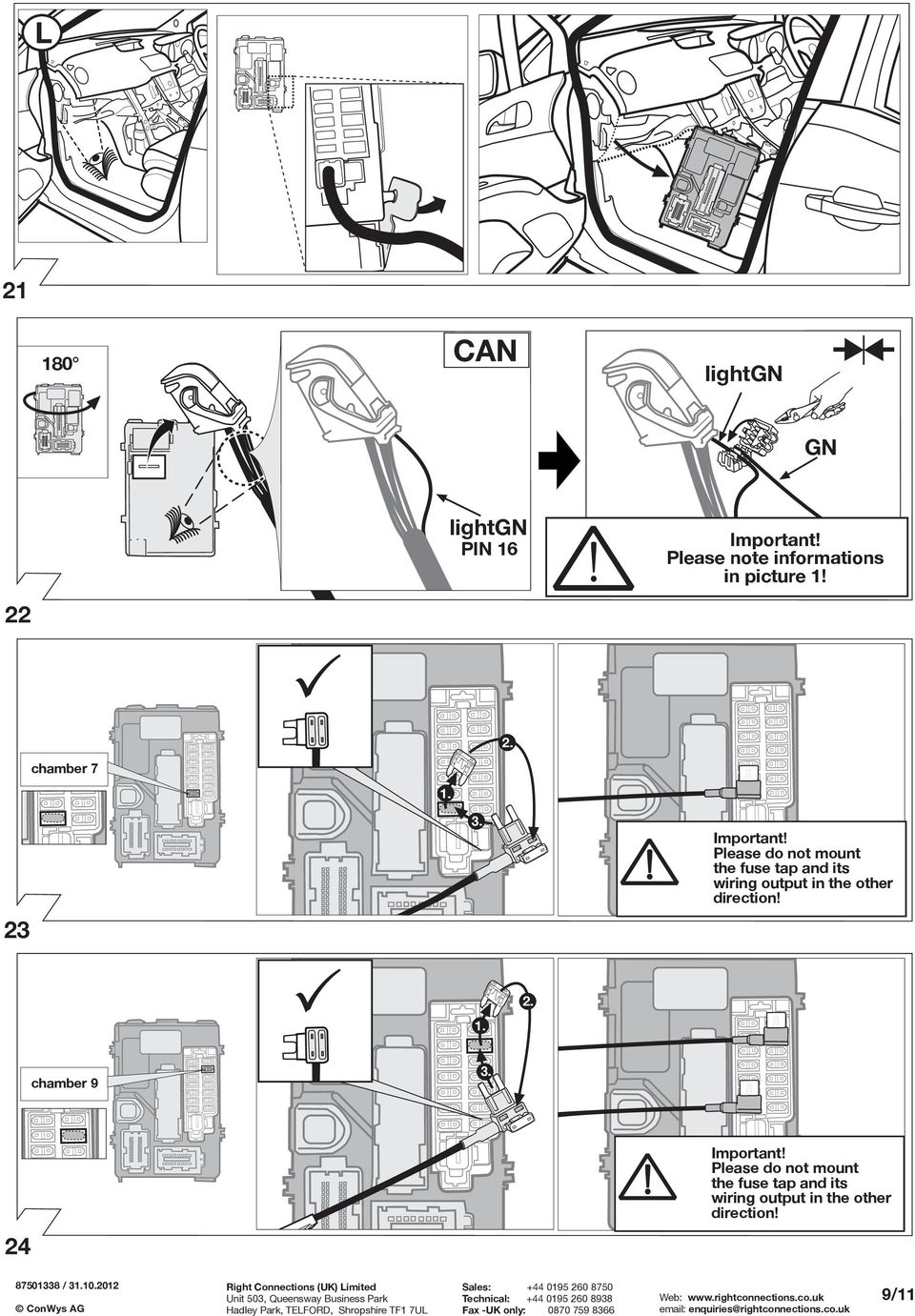 Fitting Instructions Part No Rc Vauxhall Meriva B 06 10 Important Peugeot 207 Towbar Wiring Lease Do Not Mount The Fuse Tap And Its Output In Other