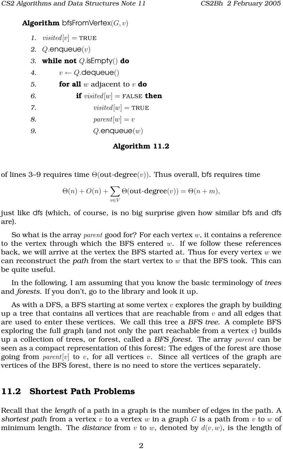 CS2 Algorithms and Data Structures Note 11  Breadth-First Search and