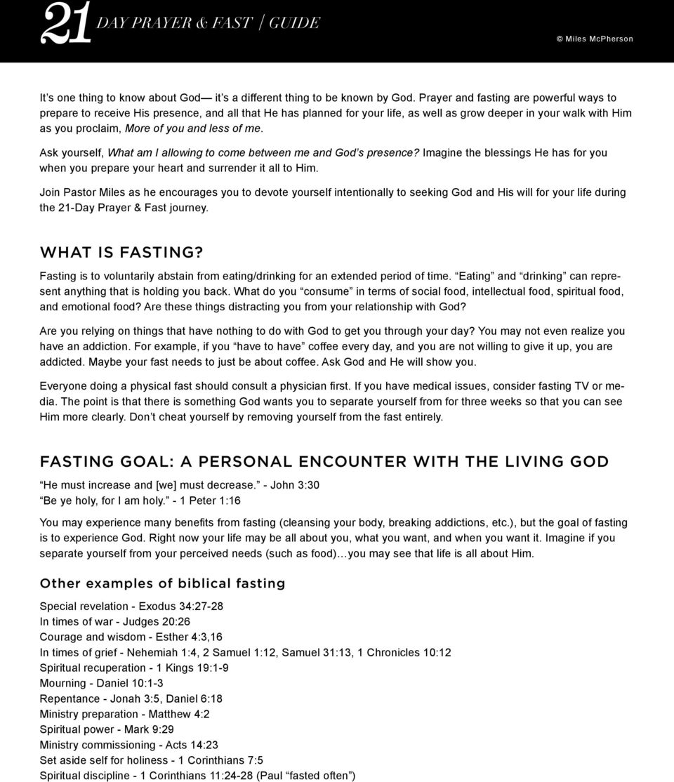 FASTING GOAL: A PERSONAL ENCOUNTER WITH THE LIVING GOD - PDF