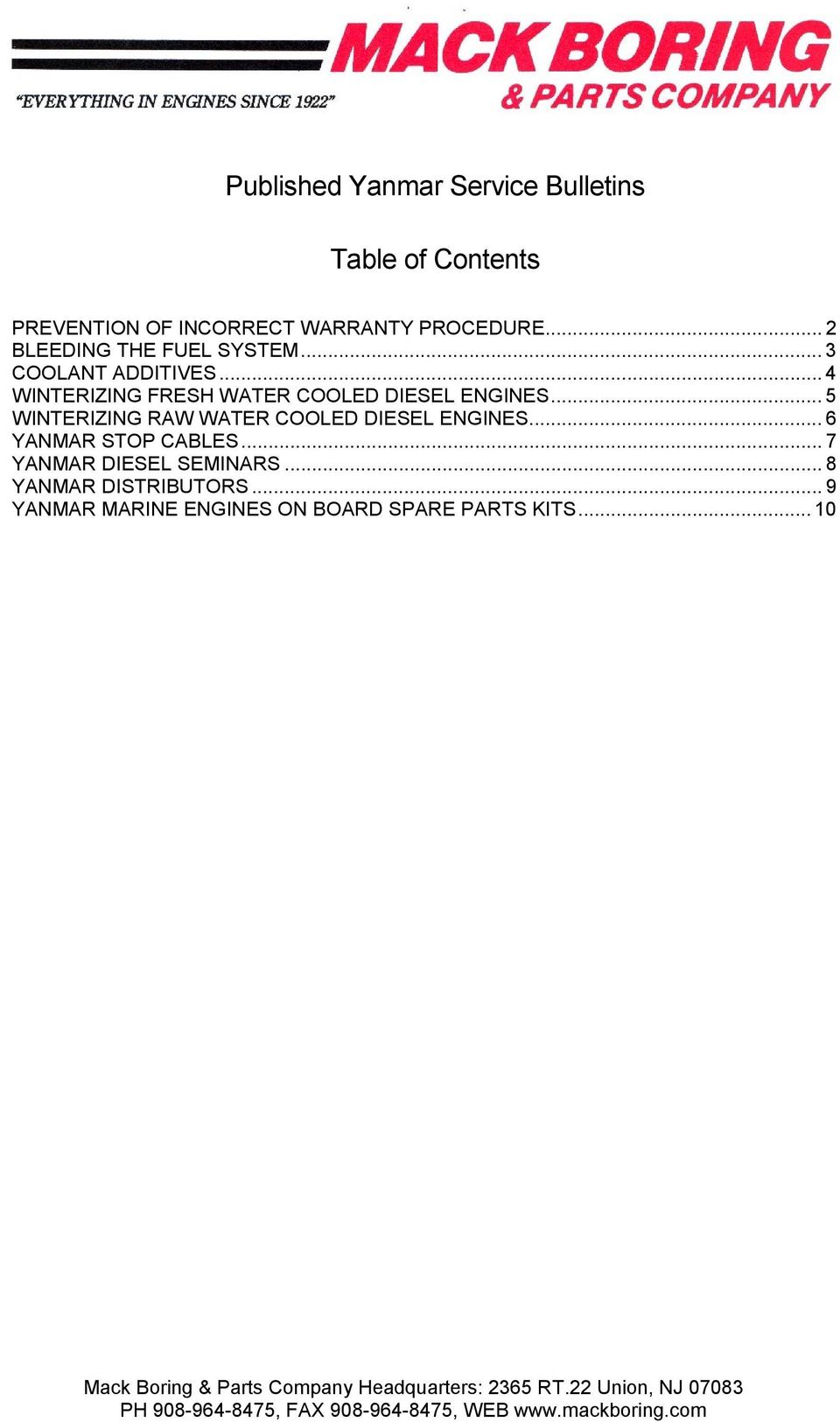 Published Yanmar Service Bulletins  Table of Contents - PDF