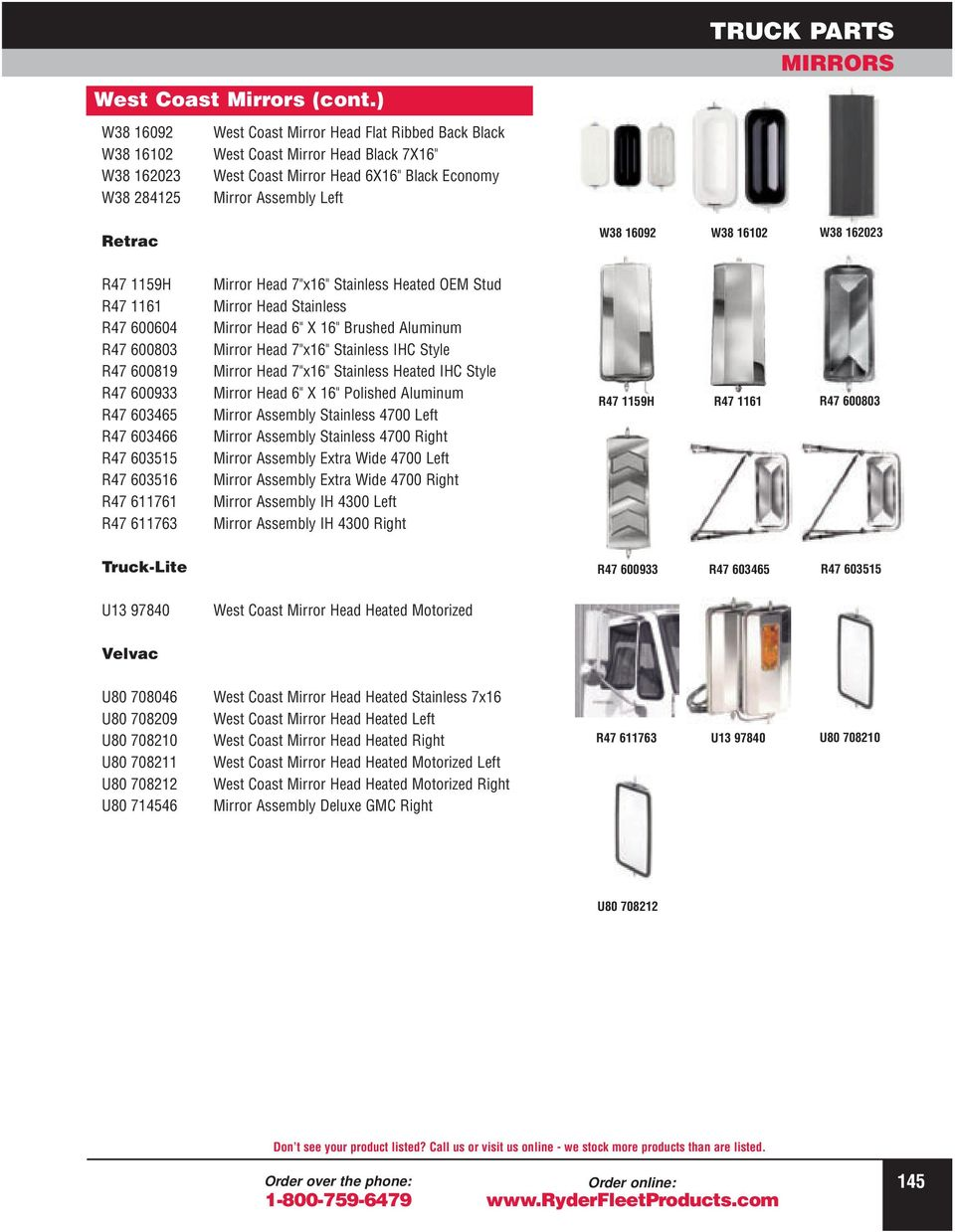 Truck Parts Mirrors Convex Grote Pdf West Coast Heated Mirror Wiring Diagrams W38 16102 162023 R47 1159h 1161 600604 600803 600819 600933