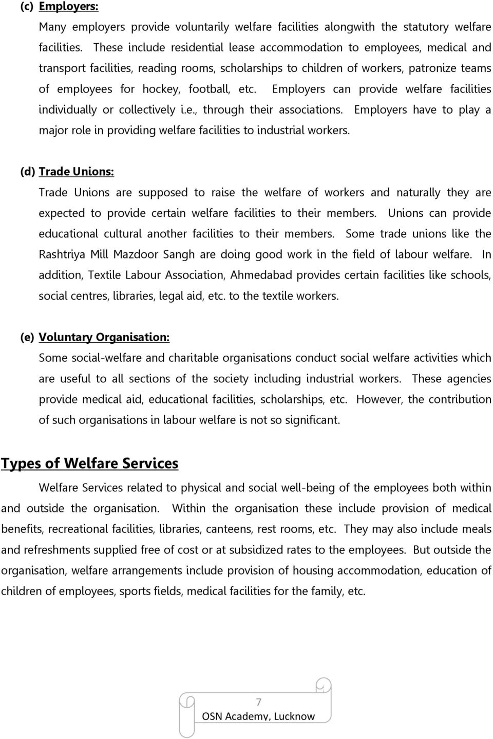 CHAPTER 9 LABOUR WELFARE: MEANING, DEFINITION, SCOPE - PDF