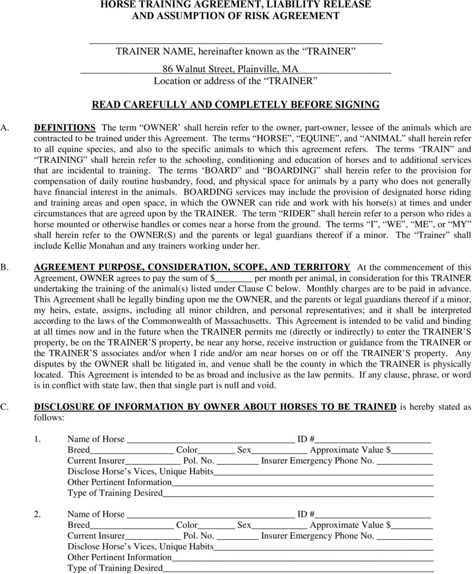 Horse Training Agreement Liability Release And Assumption Of Risk
