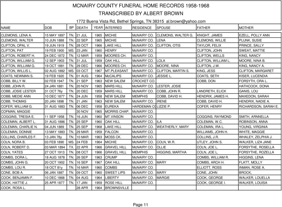 MCNAIRY COUNTY FUNERAL HOME RECORDS TRANSCRIBED BY ALBERT BROWN PDF