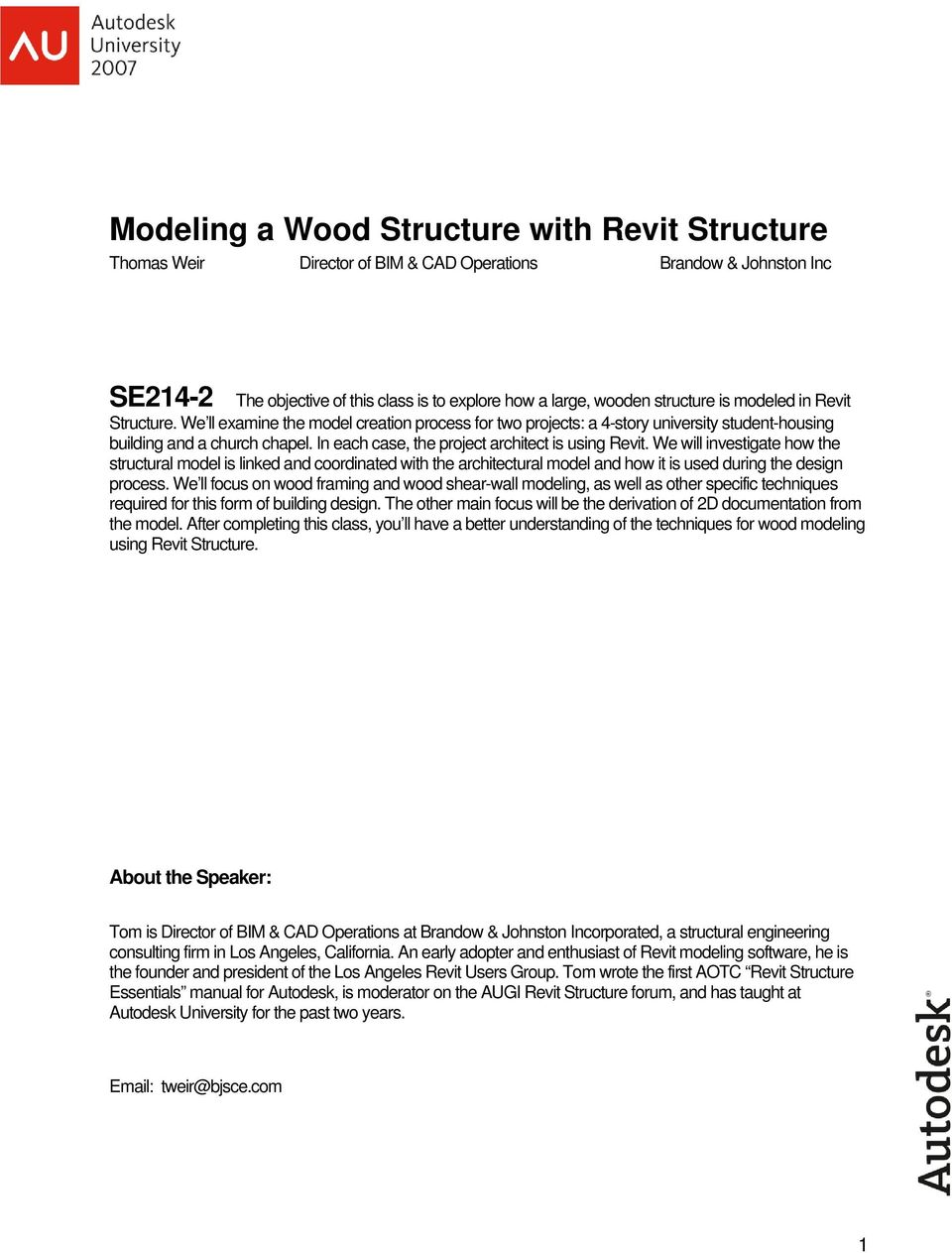 Modeling a Wood Structure with Revit Structure - PDF