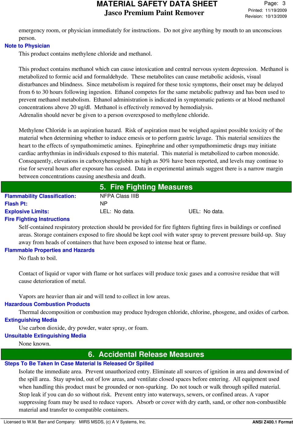 MATERIAL SAFETY DATA SHEET Jasco Premium Paint Remover  1
