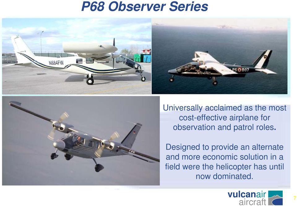 p68 observer series the aircraft for sea and land monitoring