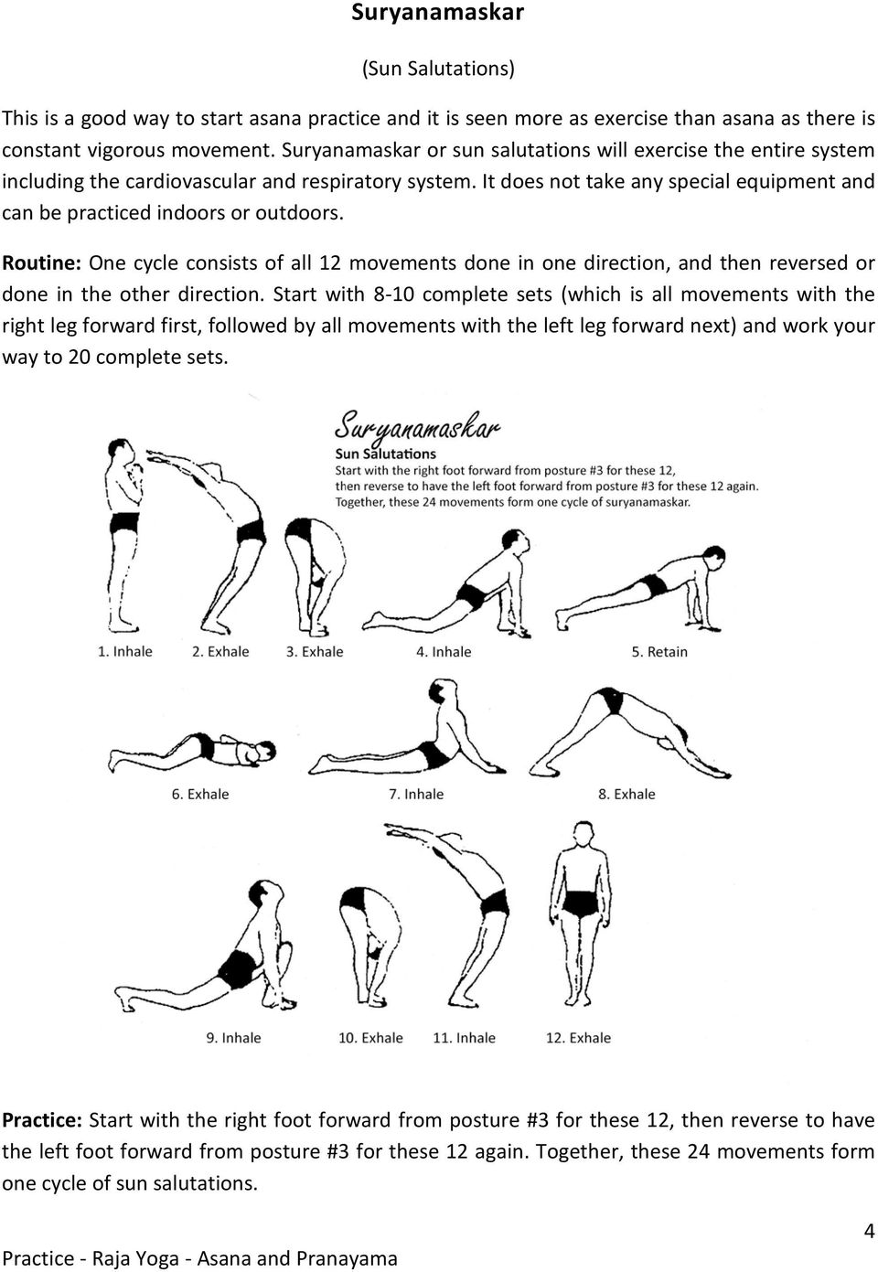 Raja Yoga A Practical Guide Iii Asana Swami Suryadevananda Pdf Exhaling Diagram Tai Chi Bag Introduction Routine One Cycle Consists Of All 12 Movements Done In Direction And Then