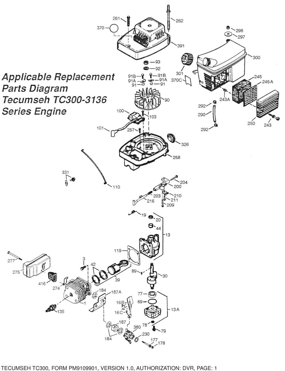 Parts Manual Tecumseh Tc Cycle Engine Breakdown For Use With Carburetor Diagram Related Images 3 Reference A 6b 6c 9b 9 6 Applicable Replacement Series General Hole Digger Part B 5768a 57698a