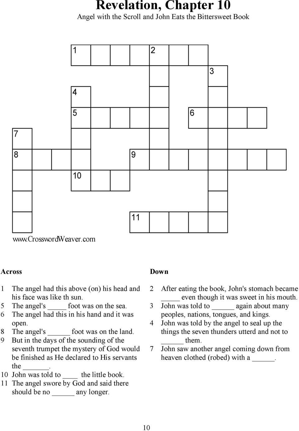 Crossword Puzzles The Book of Revelation - PDF