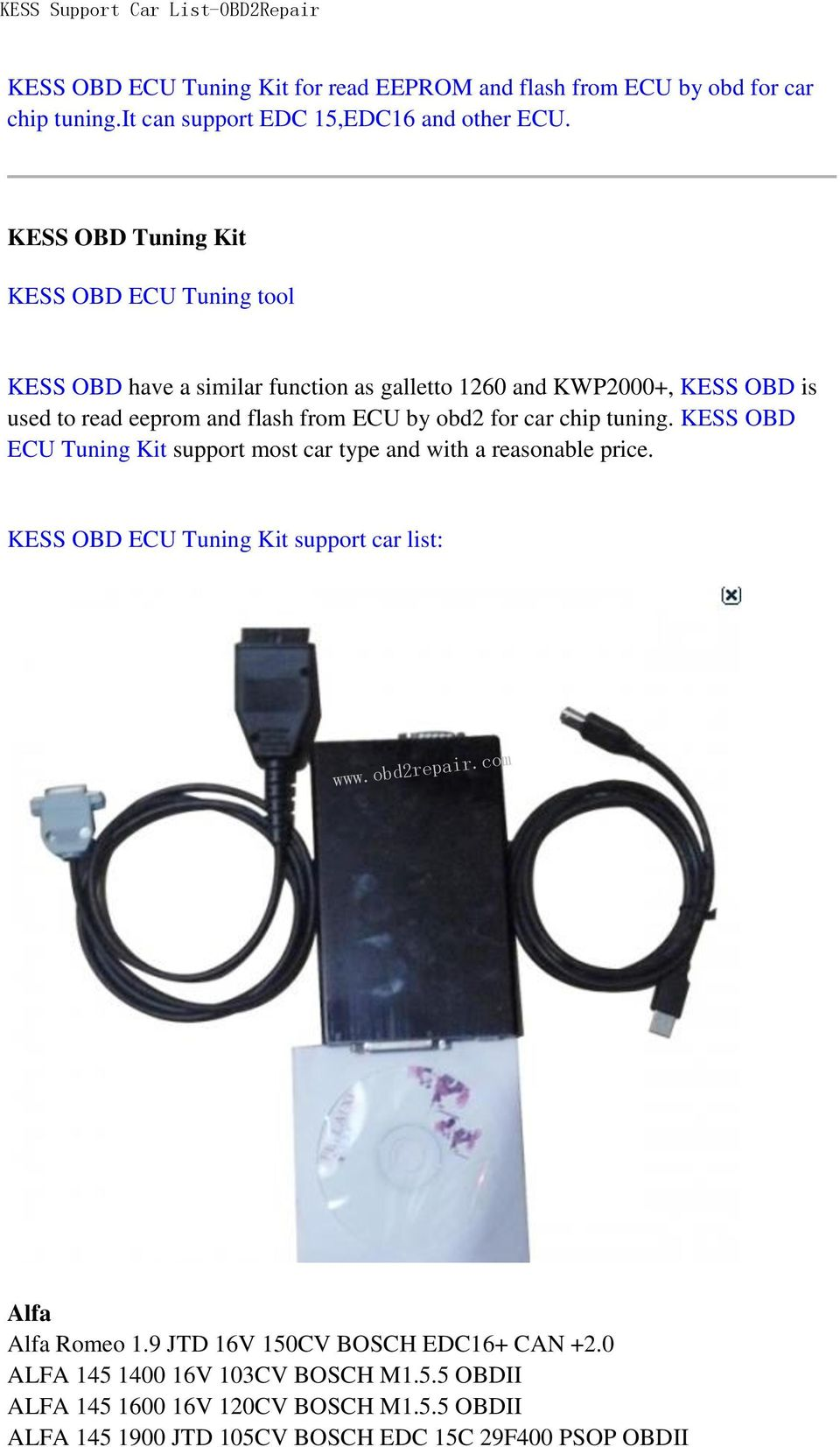 KESS OBD ECU Tuning Kit for read EEPROM and flash from ECU