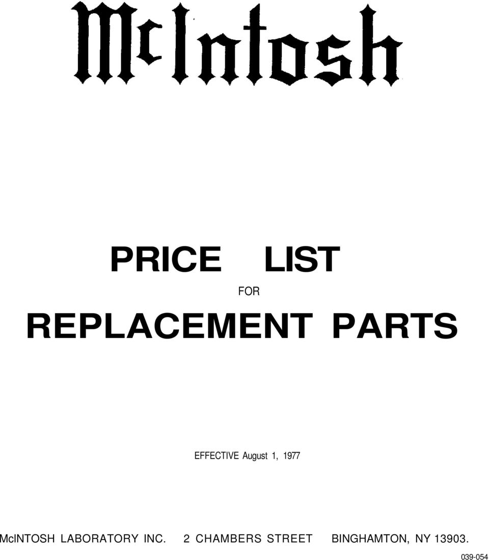 PRICE LIST REPLACEMENT PARTS - PDF
