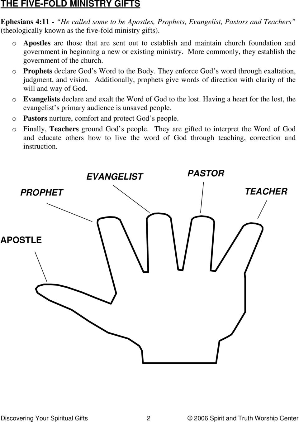 o Prophets declare God s Word to the Body. They enforce God s word through