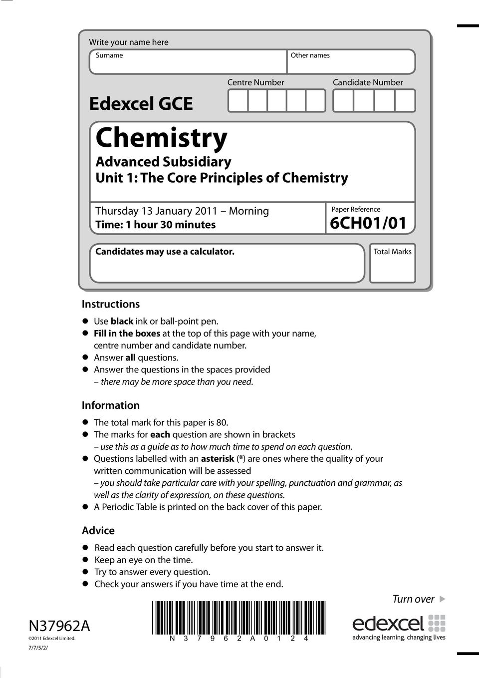 Advanced Subsidiary Unit 1: The Core Principles of Chemistry - PDF