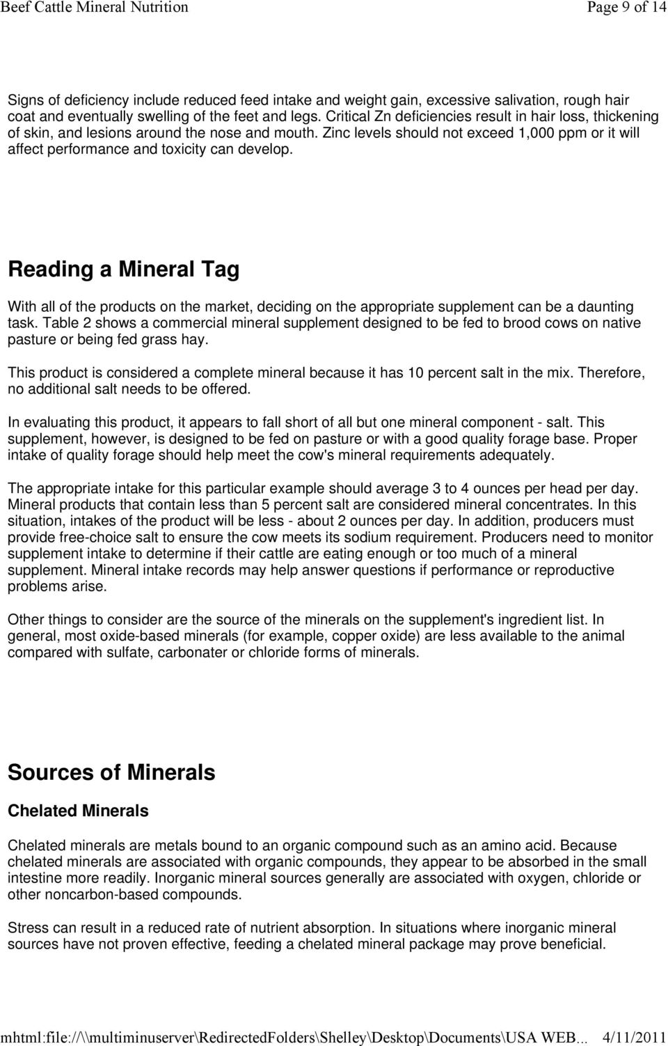 Beef Cattle Mineral Nutrition - PDF