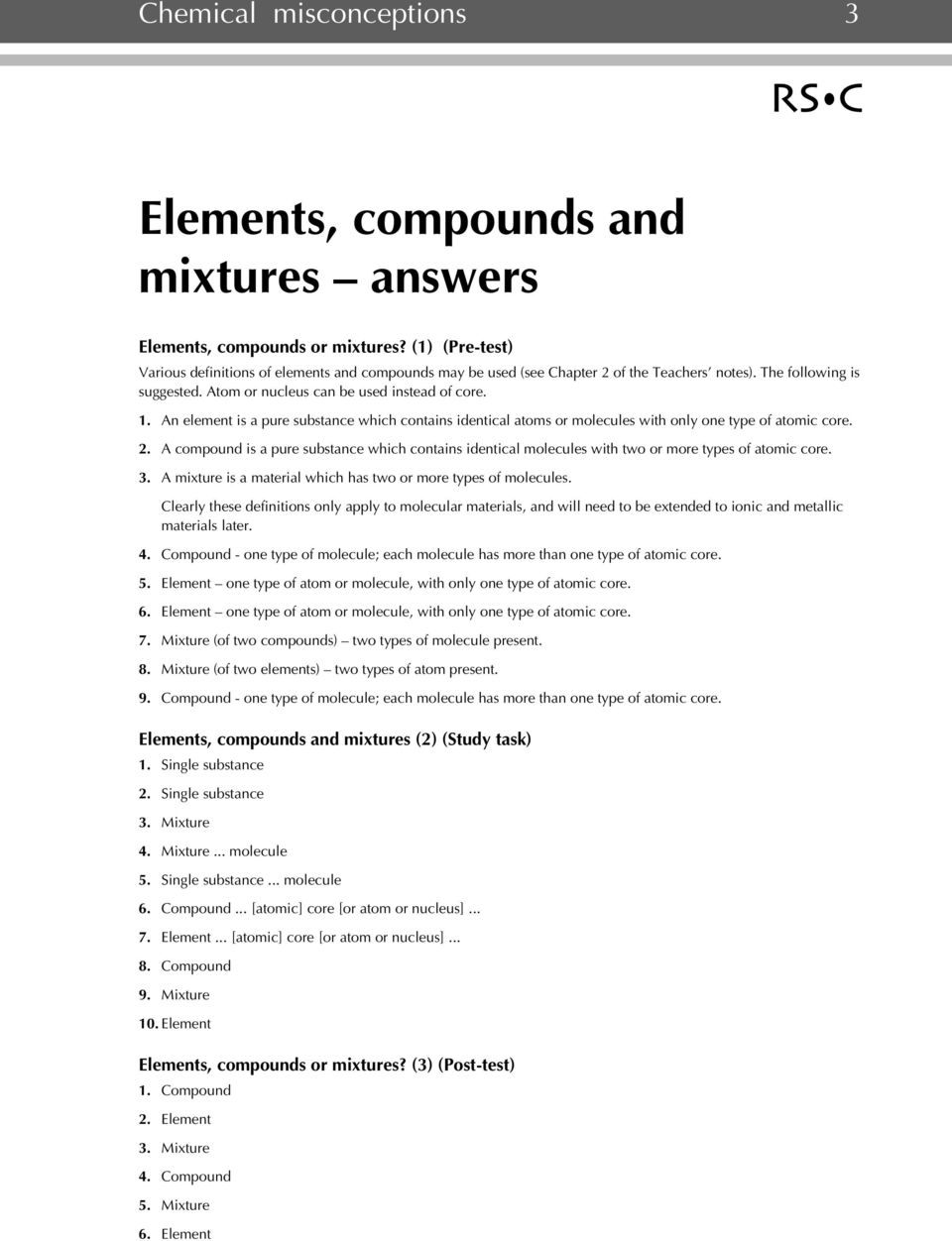 Elements, compounds and mixtures - PDF