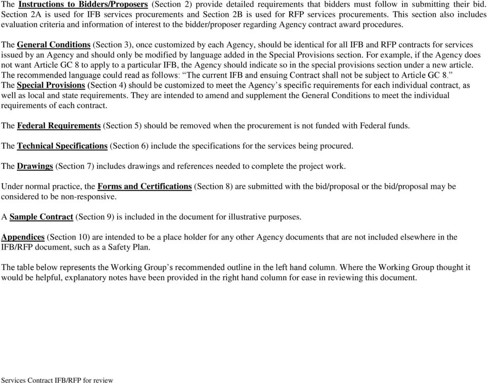 Services Contract (IFB/RFP) Outline - PDF