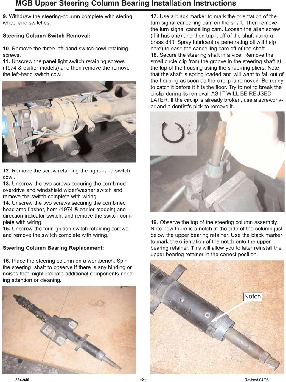 Upper Steering Column Bearing Kit Installation Instructions Pdf 97 Expedition Wiperscolum Switch Thy Still Run Use A Black Marker To Mark The Orientation Of Turn Signal Cancelling Cam On