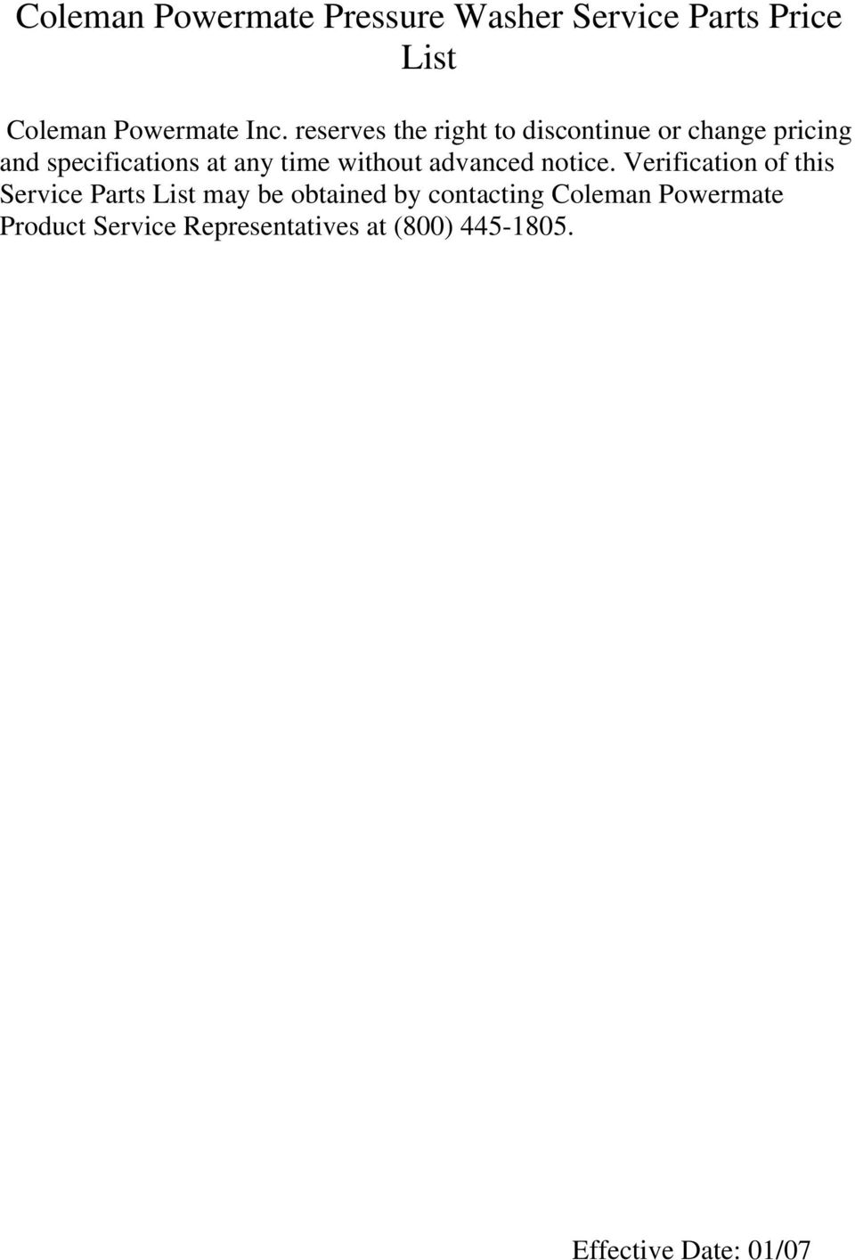 coleman powermate pressure washer service parts price list pdf