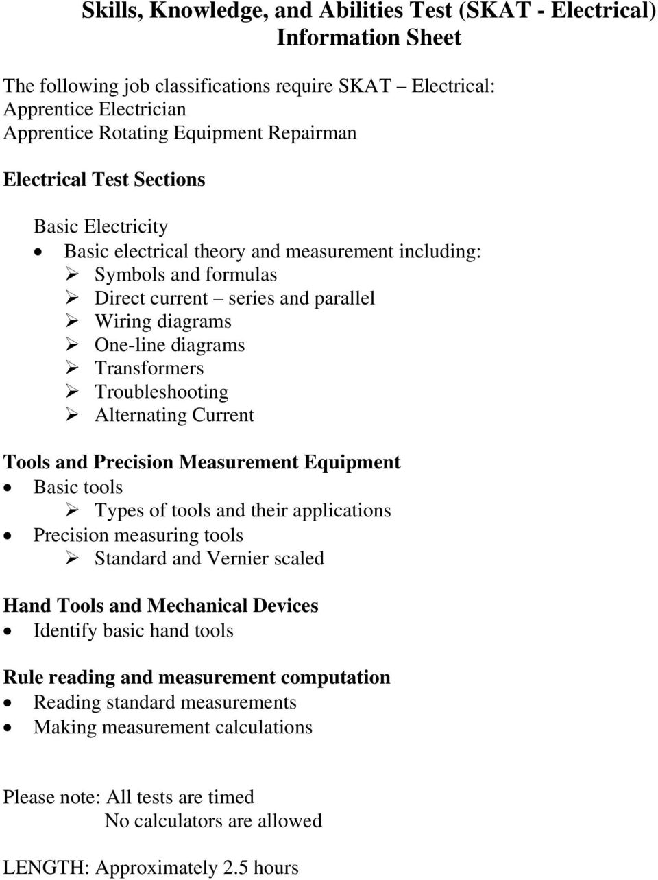 Skills, Knowledge, and Abilities Test (SKAT - Electrical ... on