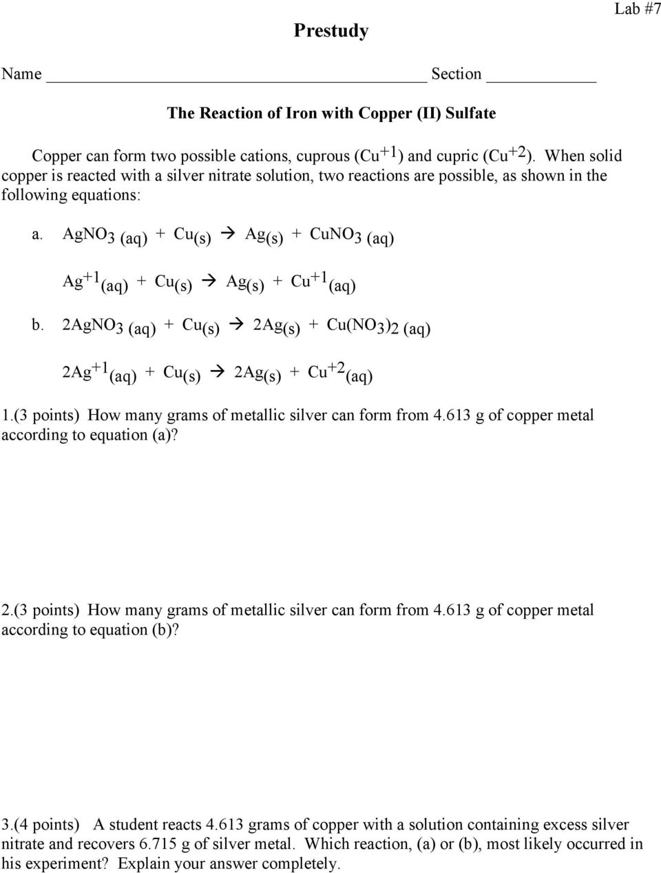 STOICHIOMETRY: The Reaction of Iron with Copper (II) Sulfate - PDF