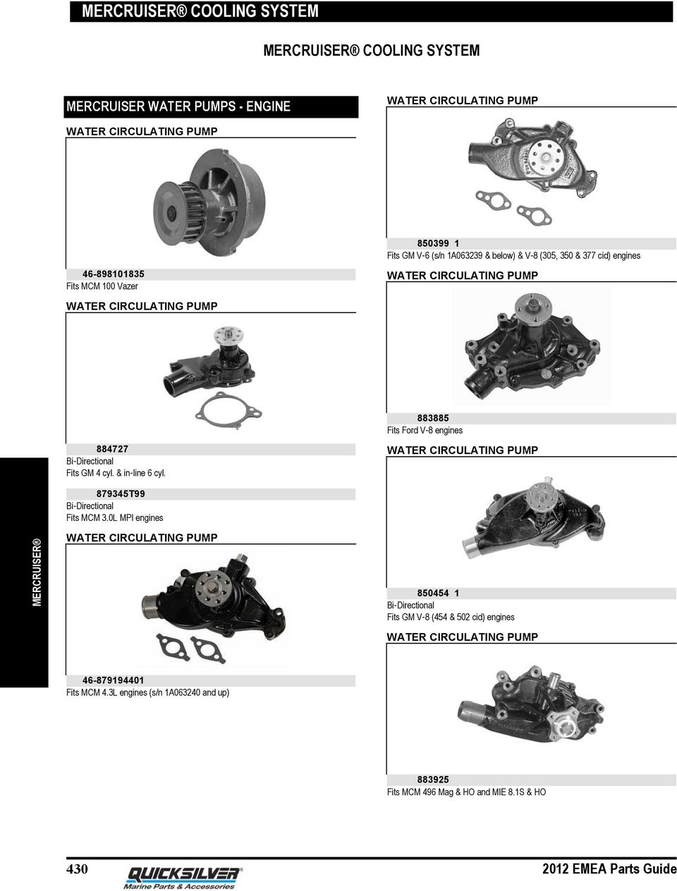Mercruiser Cooling System Pdf 1998 Omc 4 3 V6 Wiring Diagram Cyl In Line 6 Water Circulating Pump 879345t99 Bi Directional Fits Mcm