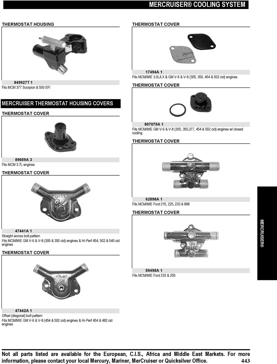 Mercruiser Cooling System Pdf 350 Engine Belt Pulleys Diagram W Closed Thermostat Cover 89659a 3 Fits Mcm