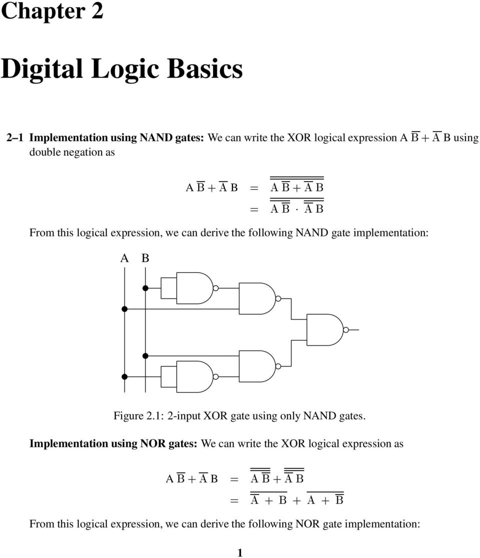 2 1 Implementation Using Nand Gates We Can Write The Xor Logical Full Adder Or Nor Logic Input Gate Only Nnd