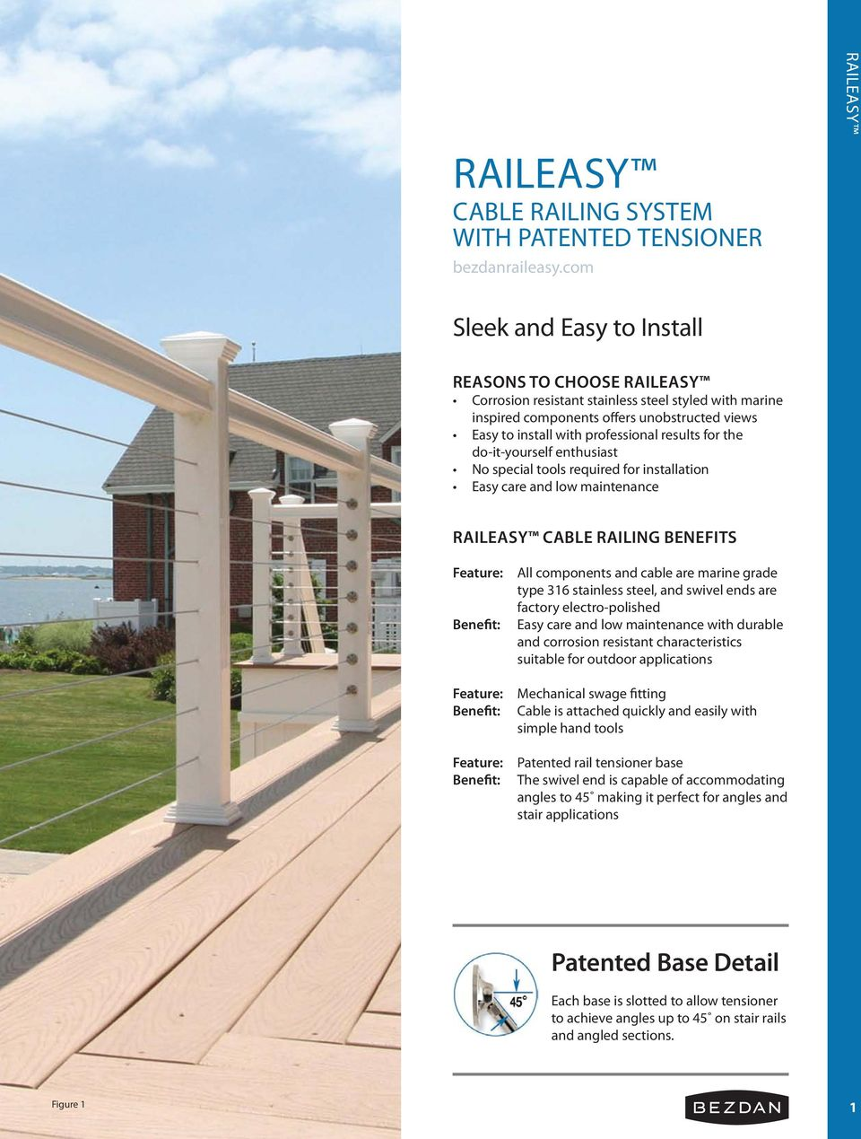 Raileasy Cable Railing system with patented tensioner - PDF