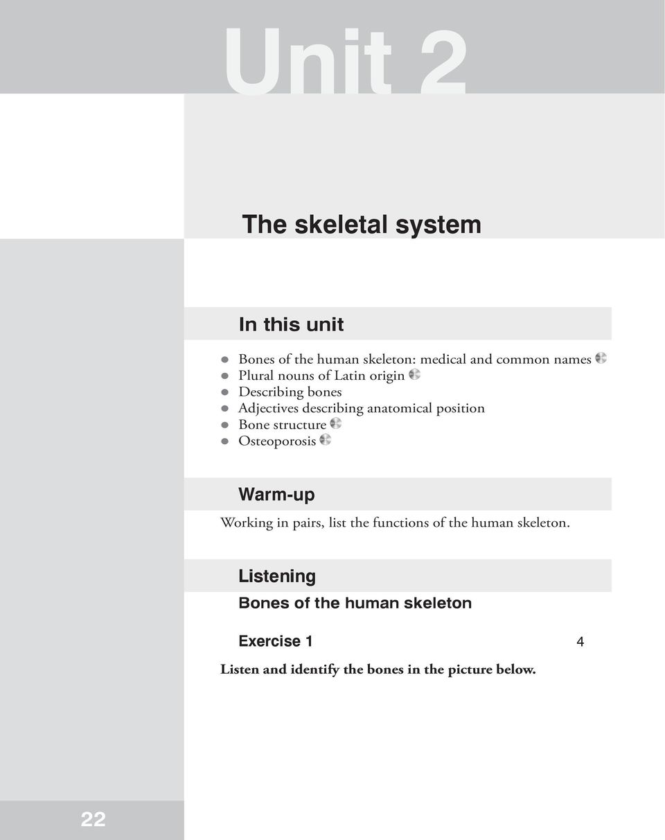 Unit 2 The Skeletal System In This Unit Warm Up Listening Bones