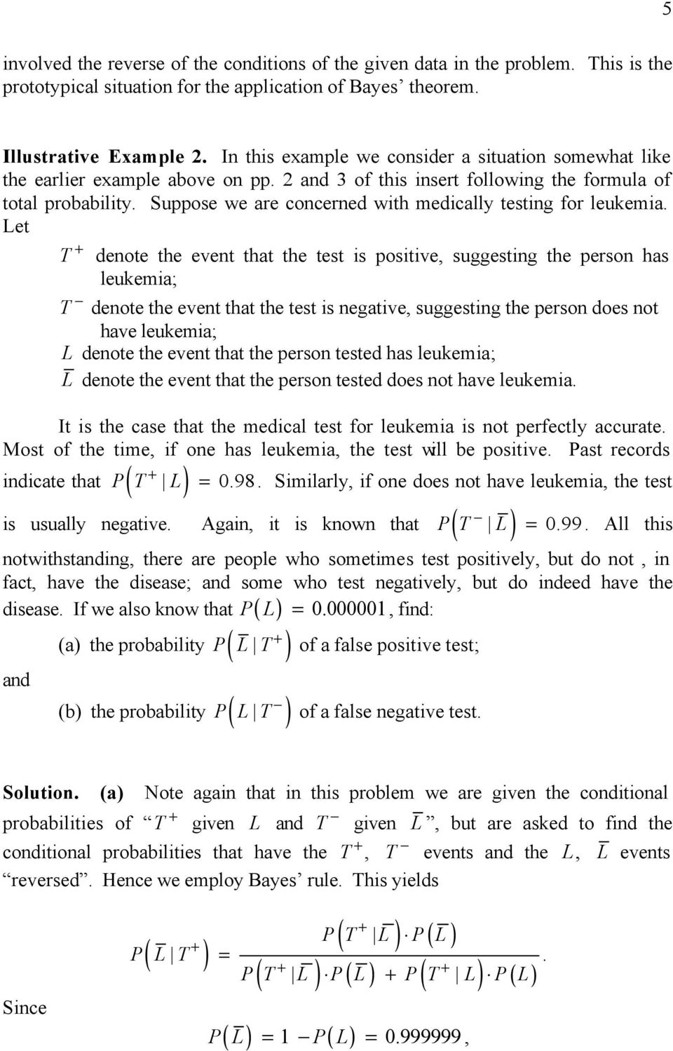 Formula of Total Probability, Bayes Rule, and Applications - PDF