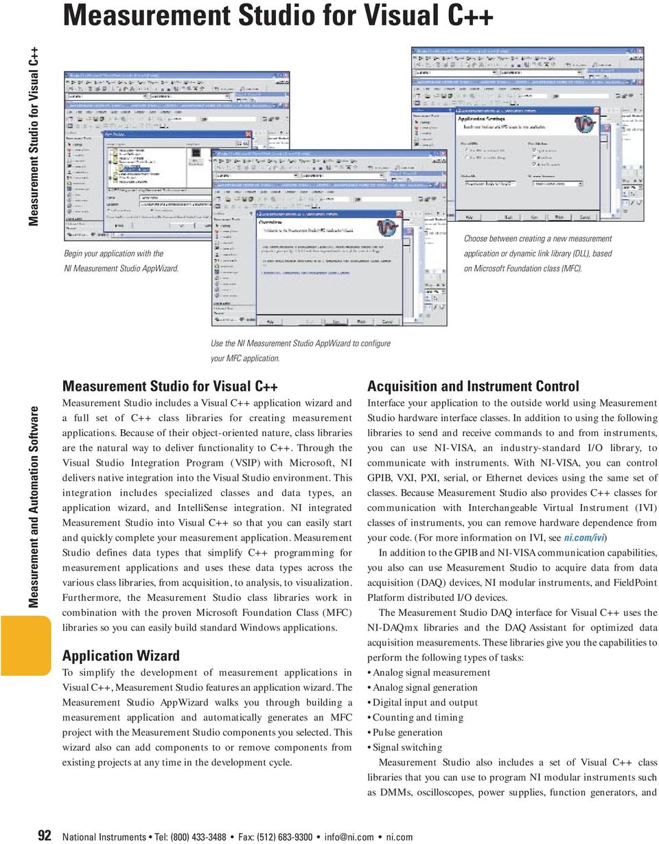 Measurement Studio Development Tools for Visual Basic