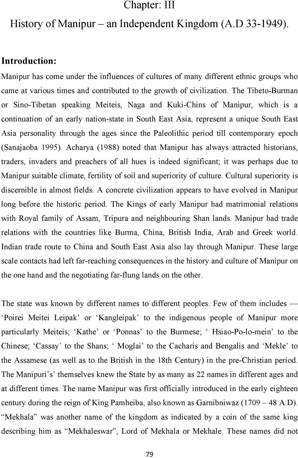 Chapter: III History of Manipur an Independent Kingdom (A D )  - PDF