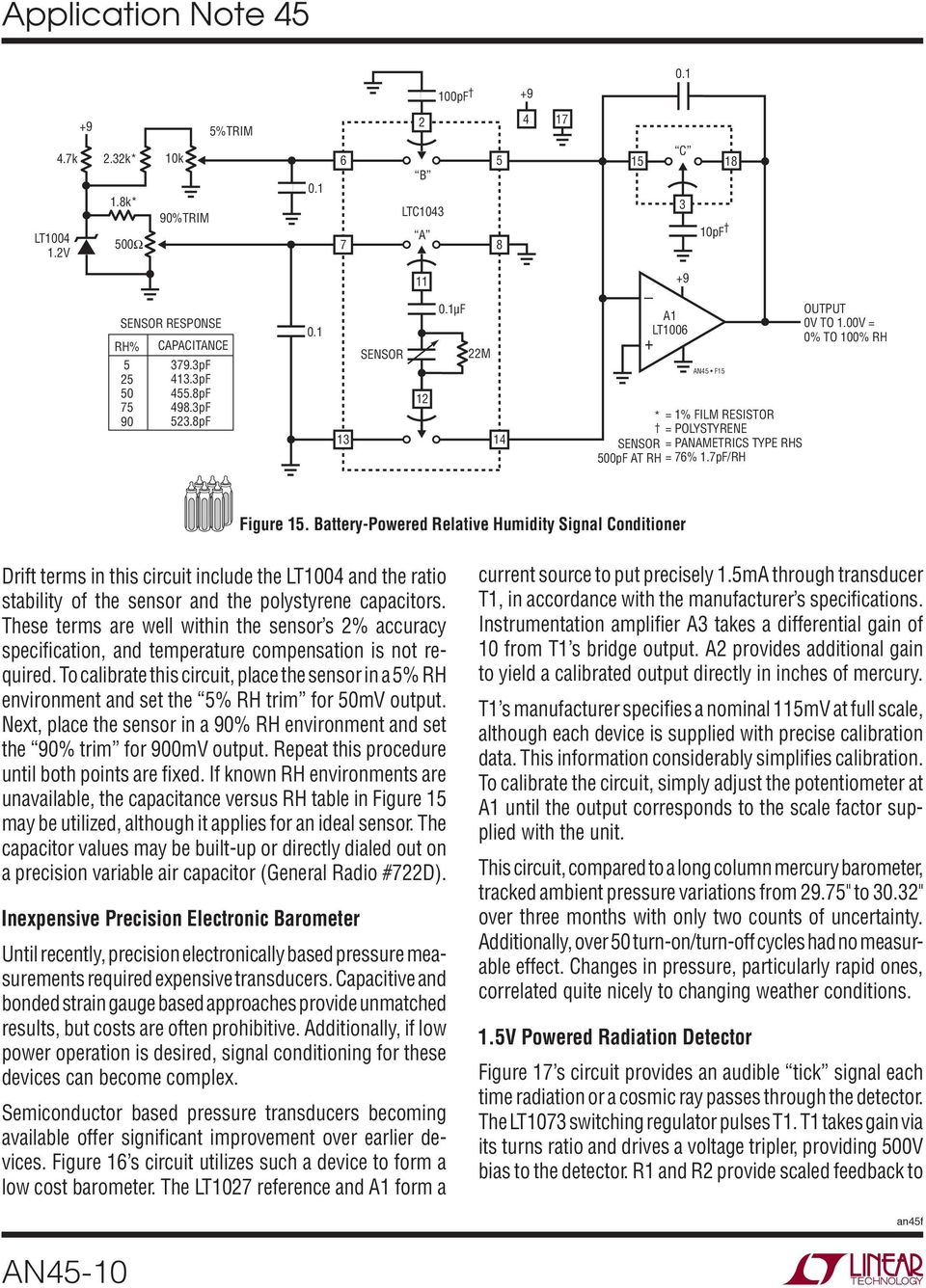Application Note 45 June Measurement And Control Circuit Collection Audio Signal Detector Switch Controlcircuit These Terms Are Well Within The Sensor S 2 Accuracy Specification Temperature Compensation