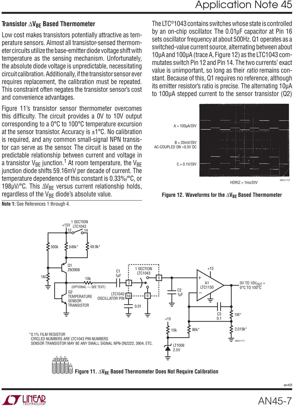 Application Note 45 June Measurement And Control Circuit Collection Temperaturecompensated Diode Input Power Detector 555 Unfortunately The Absolute Voltage Is Unpredictable Necessitating Calibration Additionally If