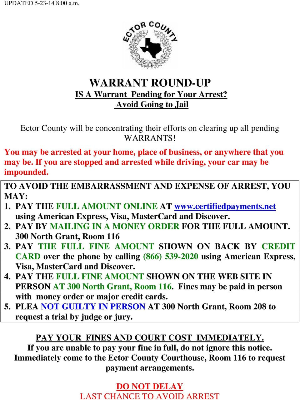 WARRANT ROUND-UP IS A Warrant Pending for Your Arrest? Avoid Going