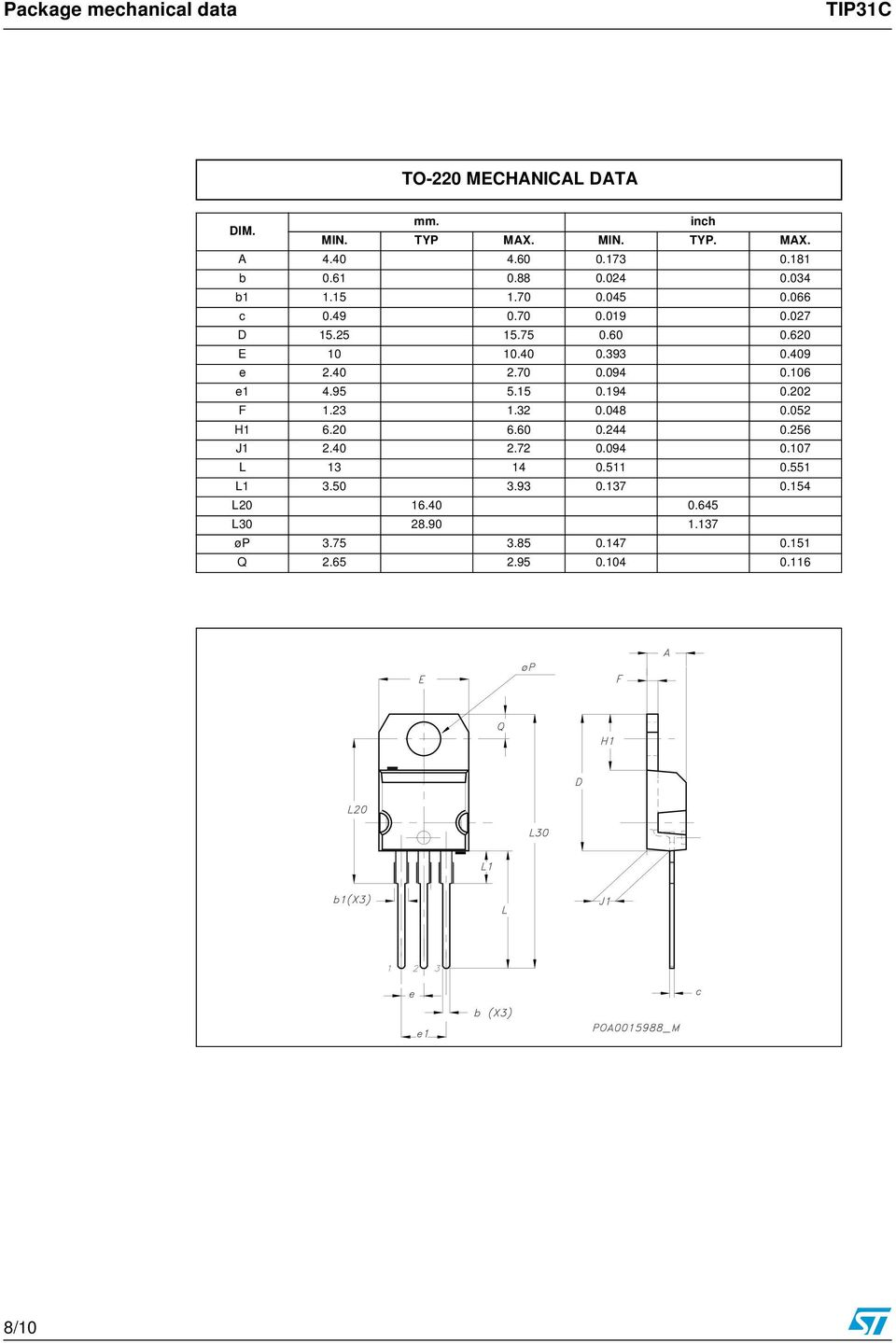Tip31c Power Transistors General Features Applications Dc Motor Controller Using Transistor Tip31 409 E 240 270 0094 0106 E1 495 515 0194 0202 F 123 132 0048 0052