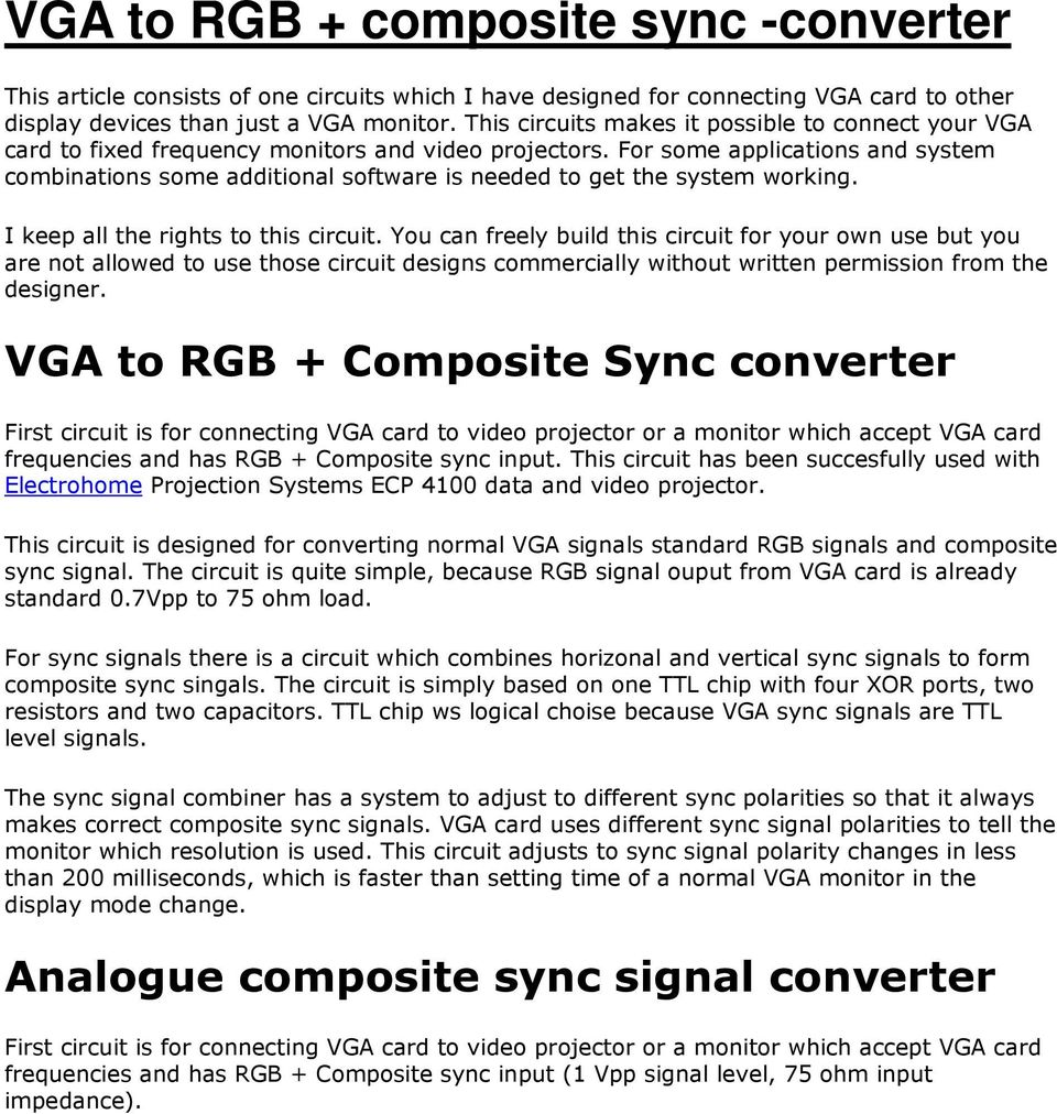 Vga To Rgb Composite Sync Converter Pdf Schematic For Some Applications And System Combinations Additional Software Is Needed Get The Working