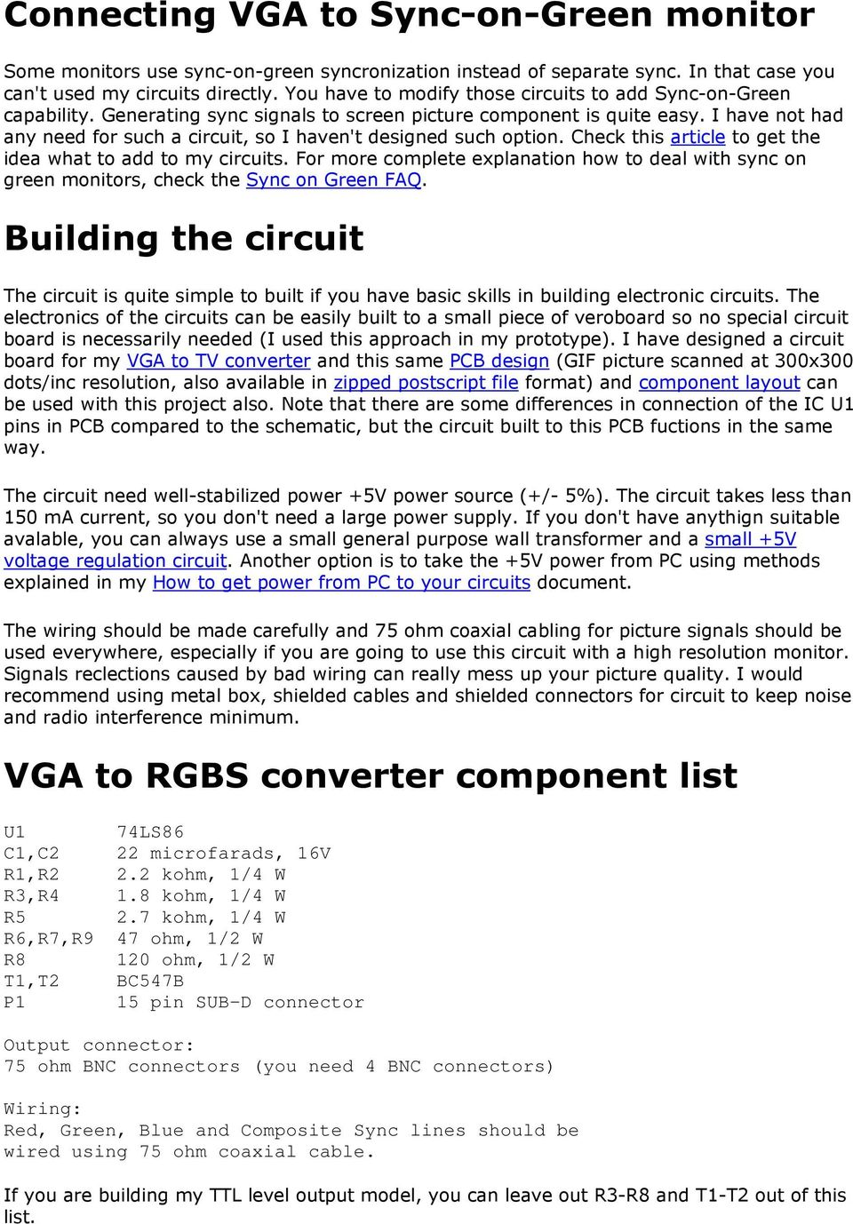 Vga To Rgb Composite Sync Converter Pdf Pinout Further Scart Cable Diagram In Addition Wiring I Have Not Had Any Need For Such A Circuit So Havent