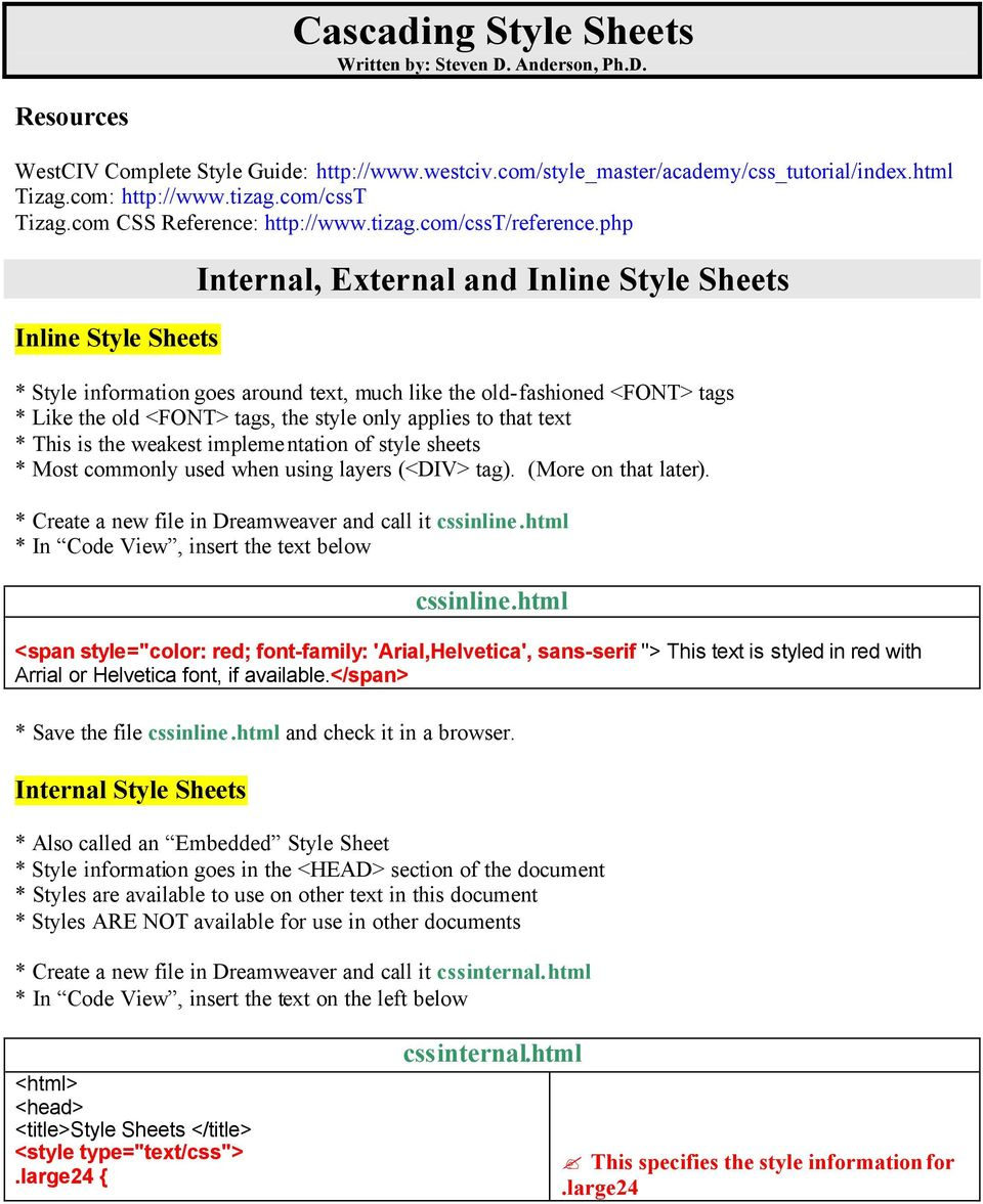 Cascading Style Sheets Written by: Steven D  Anderson, Ph D