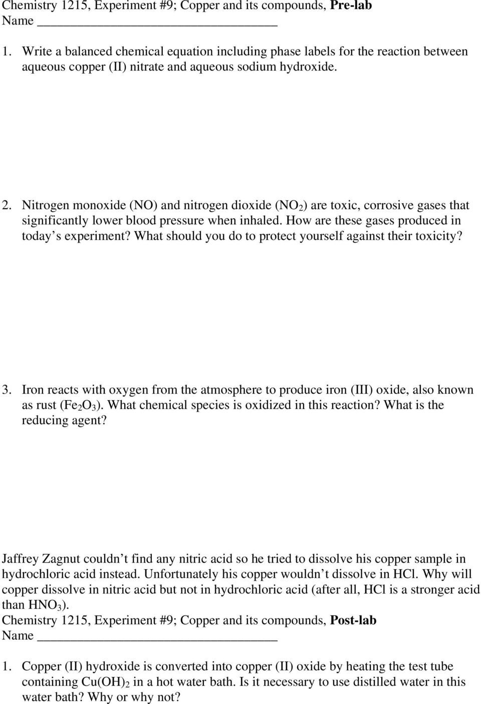 Chemistry 1215 Experiment #9 Copper and its Compounds - PDF