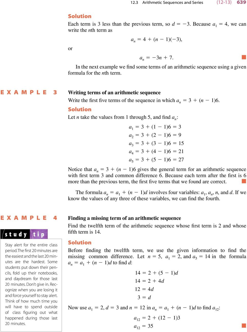 Arithmetic Sequence Example | Arithmetic Sequence Formula For The Nth Term Of An Arithmetic