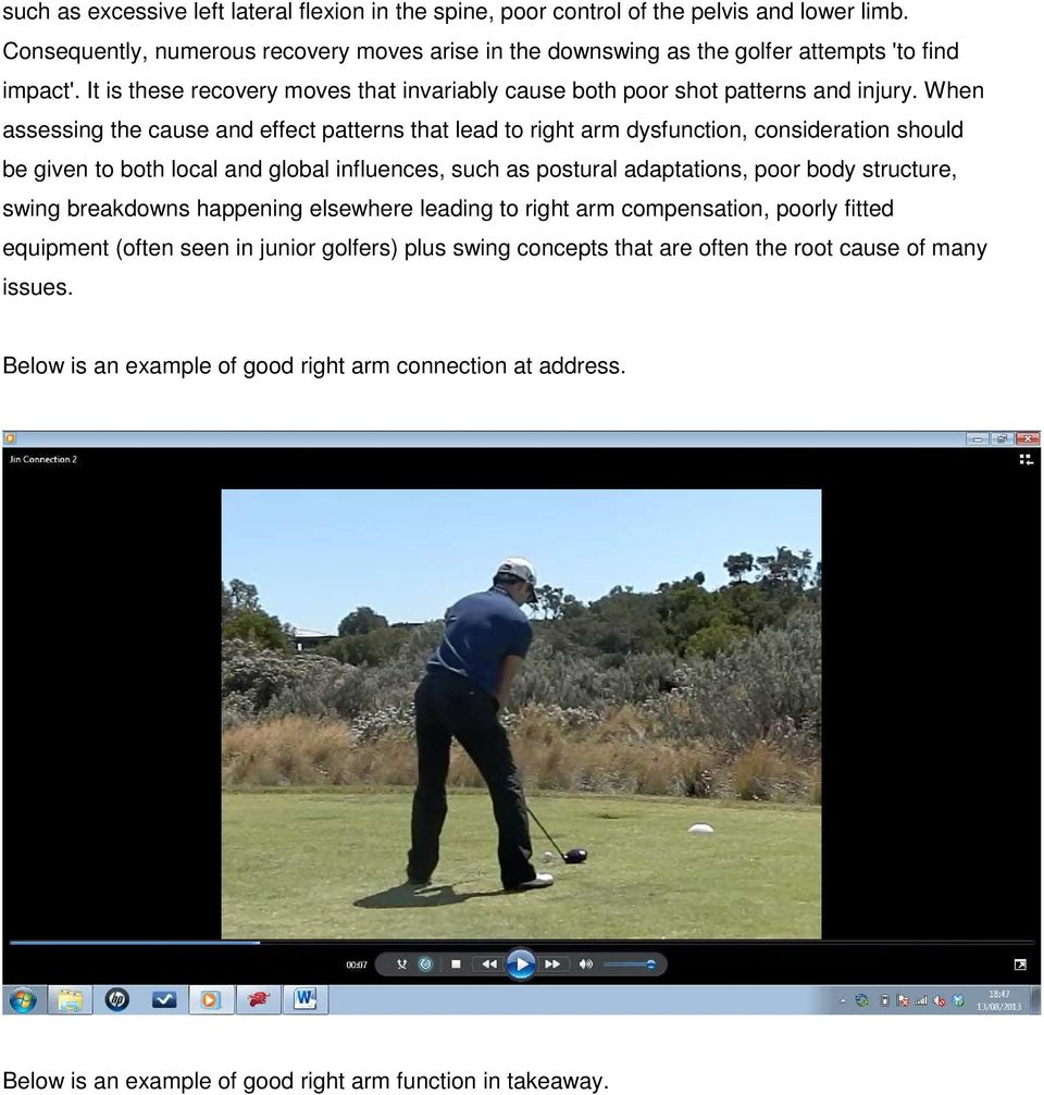 The role of the right arm in the backswing  - PDF