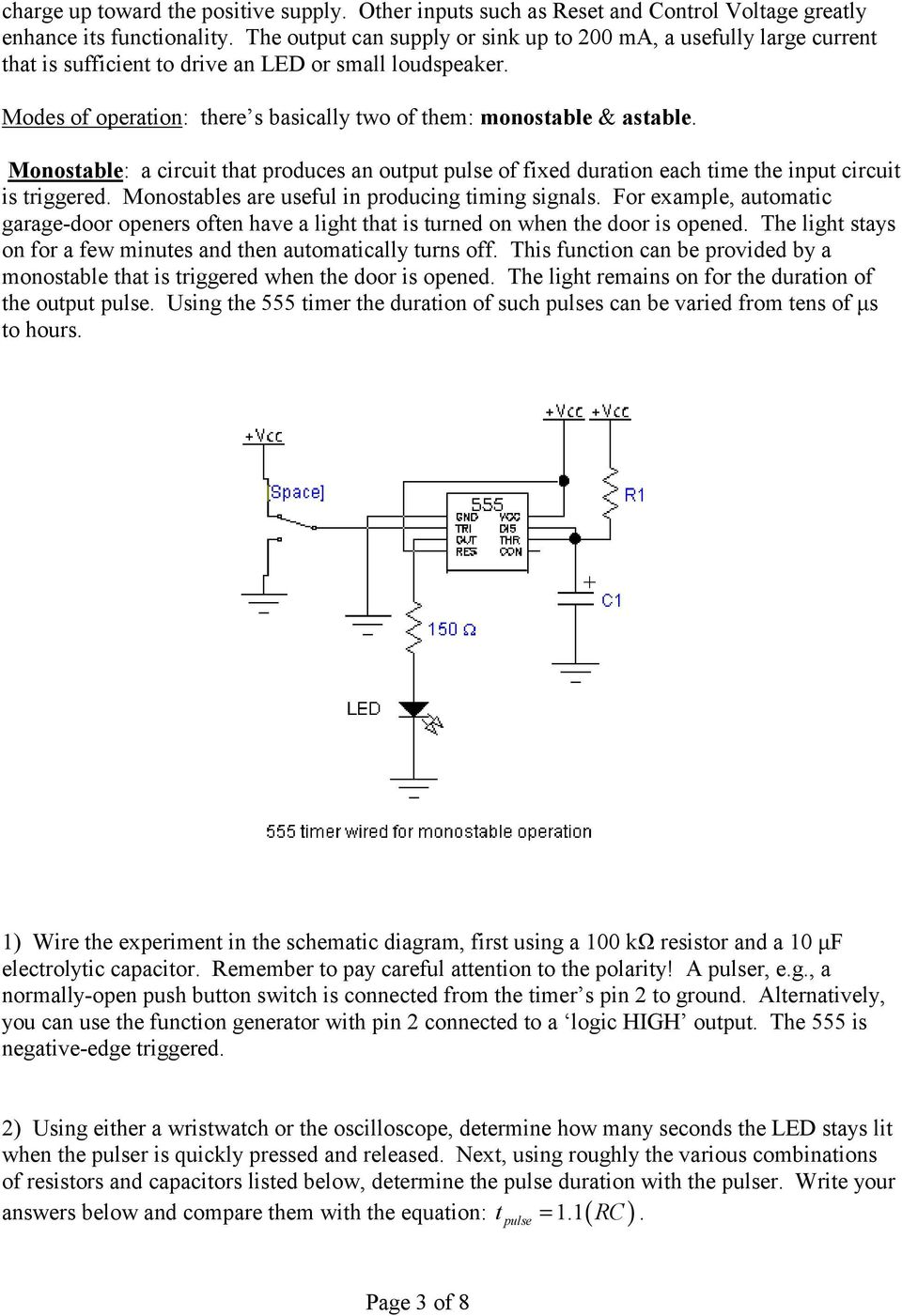 The 555 Timer Waveform Shaping Pdf Wide Range Vco Circuit Schematic Monostable A That Produces An Output Pulse Of Fixed Duration Each Time Input