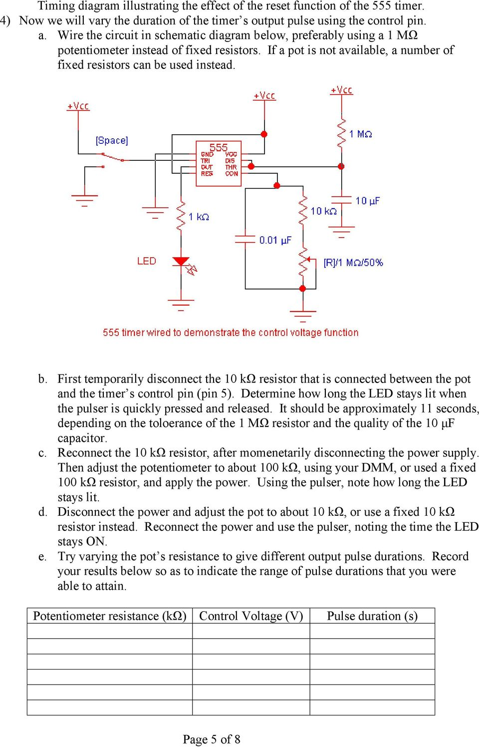 The 555 Timer Waveform Shaping Pdf Pwm Led Dimmer Using Ne555 Circuit And Block Diagrams Determine How Long Stays Lit When Pulser Is Quickly Pressed Released
