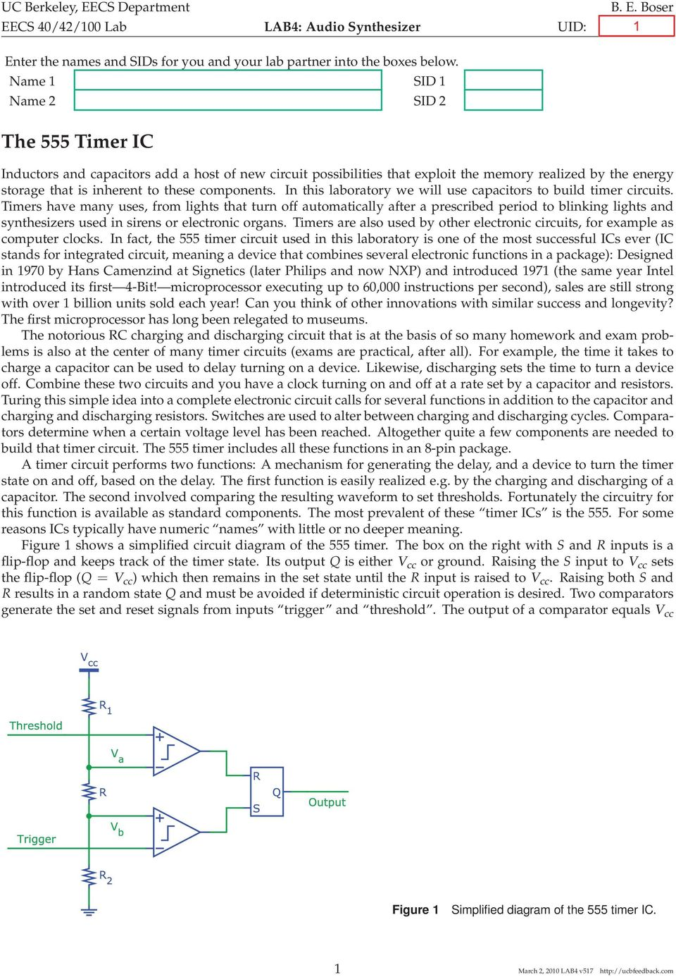 The 555 Timer Ic Uc Berkeley Eecs Department 40 42 100 Lab Simple Metal Detector Circuit Diagram Using In This Laboratory We Will Use Capacitors To Build Circuits